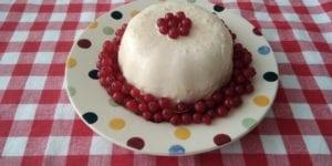 Feestelijke keto roompudding met rode bessen