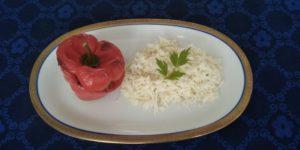 Keto: Gevulde paprika met bloemkoolrijst