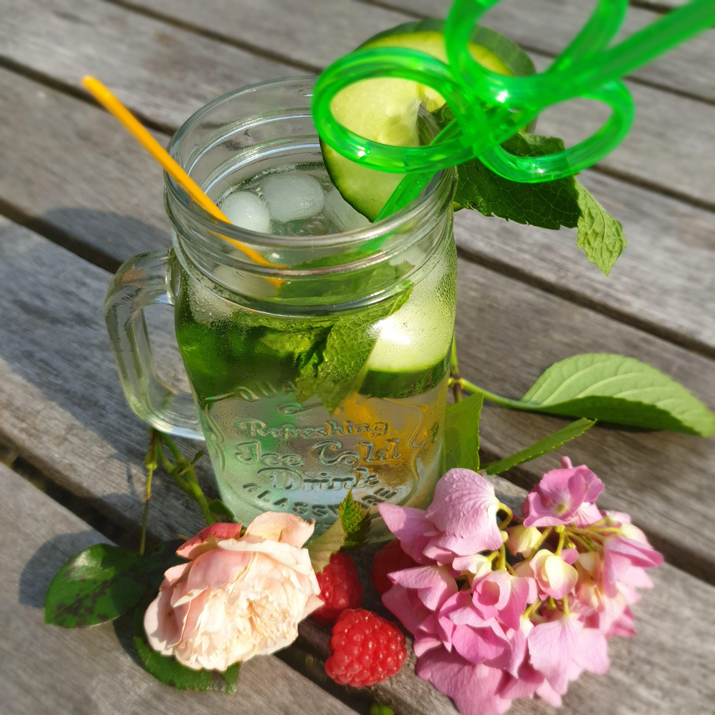 Water met komkommer en munt