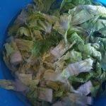 Little Gem salad in stukjes snijden